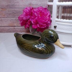 Vintage ceramic green duck planter vase